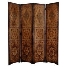 Oriental Furniture 6 ' Tall Olde-worlde Parlor Room Divider in Brown Office Room Dividers, Fabric Room Dividers, Portable Room Dividers, Wooden Room Dividers, Hanging Room Dividers, Folding Room Dividers, Folding Screens, Wall Dividers, Space Dividers