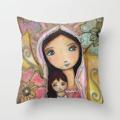 Young Madonna with Child and Flowers by Flor Larios Throw Pillow by Flor Larios Art - $20.00