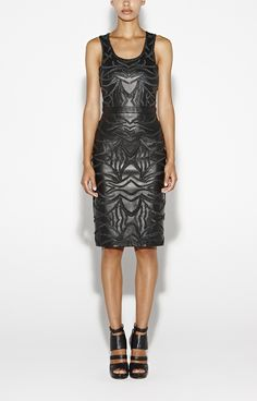 Sleek Embroidered Leather Dress - a little black dress with an edge from Nicole Miller!