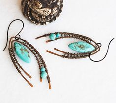 Unique Antique Bronze Wire Wrap Turquoise Rustic Handmade Woven Earrings #Jeanninehandmade #Wrap