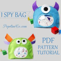 Sewing Pattern 2 Monsters Sensory Toy I Spy Bag by PopelineCo