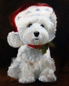 Santa Paws by MS Smith - dogs, Christmas, Westie, West Highland Terrier