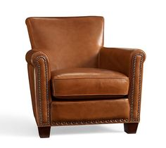 living - Irving Leather Armchair with Nailheads (Pottery Barn $939 ea+65sh)