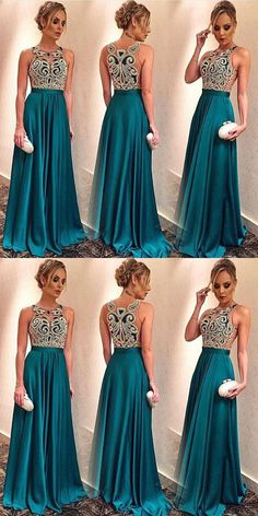 modest turquoise prom party dresses with special appliques, fashion formal evening gowns