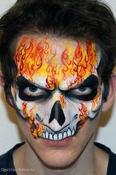 Dark rider skull face paint facepaint face painting for men / boys Face Paint For Men, Mime Face Paint, Skull Face Paint, Skull Painting, Face Painting Designs, Painting Patterns, Body Painting, Monster Face Painting, Face Painting For Boys