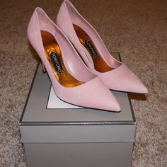 """Tom ford calf sued pump Brand new!! % authentic I've received these as a gift and unfortunately they don't fit :( dust bag's and box  included I am open to any reasonable offer's if you have any questions please do feel free to ask 4.3"""" metallic rivet heel. Pointed toe Topstitched collar Leather lining Made in Italy Tom Ford Shoes Heels"""