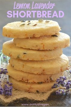 """This beautifully rich Lemon Lavender Shortbread is full of zesty lemon flavour with delicious subtle bursts of floral lavender in every bite. It literally melts in your mouth and has perfect shortbread """"snappability""""! It is also dairy-free & vegan. Vegan Shortbread, Lavender Shortbread, Lemon Shortbread Cookies, Shortbread Recipes, Vegan Sweets, Vegan Desserts, Baking Recipes, Cookie Recipes, Fish Recipes"""