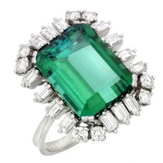 Retro Tourmaline and Diamond Cocktail Ring