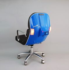 Barcelona design firm Bel & Bel makes chairs out of the front farings of old Vespa scooters, with the option of working turn-signals (no side-mirrors in sight, alas).