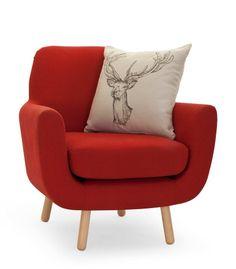 Jonah, fauteuil, rouge groseille