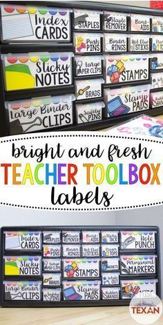 This DIY teacher toolbox is one of my favorite classroom organization tools! Whether setting up for back to school or organizing mid-year I love this for keeping all of our small school supplies neat and tidy! Back To School Organization Diy Teacher Toolbox Labels, Teachers Toolbox, Teacher Supplies, Teacher Organization, Teacher Hacks, Organized Teacher, Kindergarten Classroom Organization, Stationary Organization, School Supplies Organization