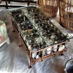Craft table display wine bottles ideas for 2019 Wine Bottle Crafts, Wine Bottles, Wine Craft, All You Need Is, Craft Projects For Adults, Wine Cork Art, Recycled Glass Bottles, Wine Table, Recycled Furniture