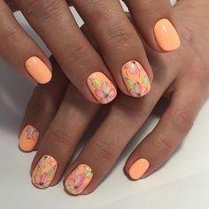 Bright orange nails, flower nail art, May nails, Nails for orange dress, Nails ideas with flowers, Orange nail art, Peach nails