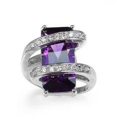Uno de 50 Designer Style Statement Cut Amethyst Sterling Silver Ring 9 #Statement