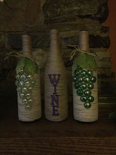 Twine wrapped wine bottles, grapes