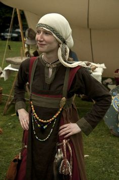 Note that this reenactor is wearing her brooches over the tips of her breasts, as Professor Annika Larsson has suggested.