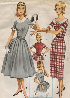 1950s McCall's 4241 Vintage Sewing Pattern Teen's Accessory Dress, Weskit, Detachable Collar and Cuffs Size 12 Bust 32