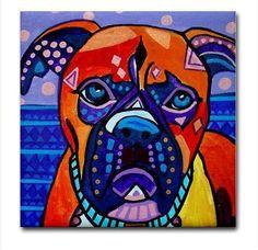 Boxer Art Tile - Ceramic Coaster Tile - Dog Art Modern Abstract Folk Art Gift