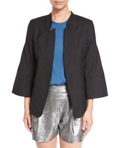 HALSTON HERITAGE Wide 3/4-Sleeve Stand-Collar Blazer Jacket, Black. #halstonheritage #cloth #