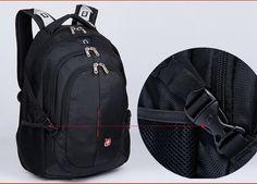 Stylish Unisex Swissgear Backpack Laptop bag 15.6   School Bag Nylon Black
