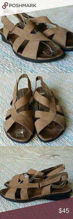 "Arche Beige Nubuck Leather Suede Wedge 39 US 9 Arche Beige Nubuck Leather Suede 1"" Wedge Heel Strappy Sandals Size 39 US 9 Shoes Sandals"