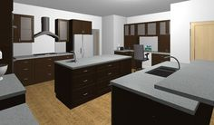 Rendering of our new kitchen. Cork floor, espresso stained maple shaker cabs, hanstone specchio white quartz counter tops. The back island by pauline