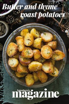 No Christmas dinner is complete without show stopping spuds, like these butter and thyme roast potatoes from chef Tristan Welch English Christmas Dinner, Christmas Roast, Christmas Dinner Menu, Vegan Christmas, Christmas Recipes, Christmas Eve, Christmas Ideas, Xmas, Roasted Potato Recipes