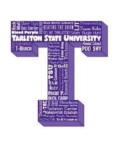 "Original artwork using words to describe ""TARLETON STATE UNIVERSITY"" -- Show off your Texans in your home/dorm room/office with this print that details the many words for all things TSU like Texan Rider, Purple Poo, Oscar P, TSU, Stephenville, Plowboys and more. Come visit the Lexicon Delight Etsy store!"