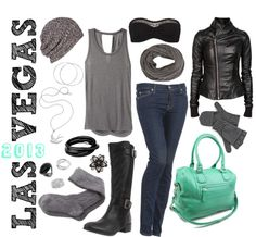 """""""Winter in Vegas"""" by ms-aja-james on Polyvore Love everything but the purse"""
