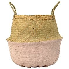 """Danish Bloomingville creates beautifully designed products that bring warmth and serenity to your home. Durable and flexible, natural seagrass makes this handwoven basket with painted rose bottom an elegant and practical way to contain magazines, toys or even a large plant, indoors or out. Each handwoven basket is unique. 19.5"""" diameter, 13.75"""" diameter, 15.75"""" tall. Seagrass. Clean with a dry cloth."""