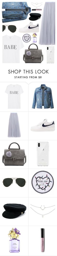 """Lilac"" by keila-ayala ❤ liked on Polyvore featuring LE3NO, Needle & Thread, NIKE, Rebecca Minkoff, Ray-Ban, Manokhi, Marc Jacobs, StreetStyle, ootd and contestentry"