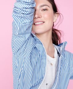 J.Crew women's embellished floral T-shirt and New Balance® for J.Crew windbreaker jacket in stripe.