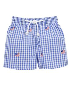 Look at this Blue Americana Embroidery Swim Trunks - Infant, Toddler & Boys on #zulily today!