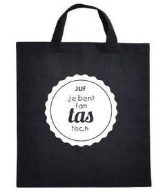 Katoenen tas met tekst Juf je bent fantastisch tas