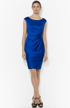 Lauren Ralph Lauren Side Pleat Satin Sheath Dress available at #Nordstrom