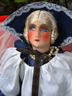 Blue Queen Boudoir Doll / Antique Doll by FashionanticVintage