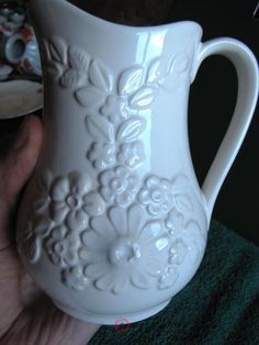Vintage Artist signed Rosa Ljung Floral Vase Creamer Pitcher Sweden