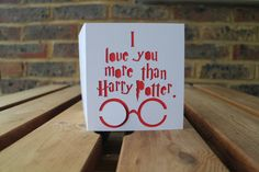 """I Love You More than Harry Potter."" Great Valentine's Day card for Harry Potter geeks like us! #harrypotter #valentinesday"