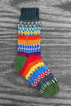 Socks  Unique  Hand knit  Icelandic Design  Multi color  by LizSox