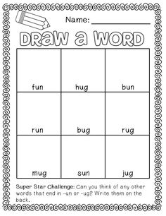 Draw a word - short vowel edition! Maybe use as Tic Tac Toe or modify to BINGO… First Grade Words, First Grade Phonics, First Grade Reading, Phonics Reading, Teaching Phonics, Teaching Reading, Learning, Phonics Words, Spelling Words