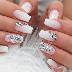 "The most stunning wedding nail art designs for a real ""wow"" The most stunning wedding nail art designs for a real ""wow"",Nägel 57 Gorgeous Wedding Nail Designs for Brides, bridal nails nails bride,wedding nails with glitter, nails for wedding guest Design Silver Glitter Nails, Glitter Nail Art, Cute Acrylic Nails, Acrylic Nail Designs, Cute Nails, Glitter Wedding Nails, Silver Nail Designs, Bling Nail Art, Coffin Nails Glitter"