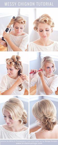 Messy Chignon Tutorial: Wedding Hair Designs for Bridal Chignon Headband, Messy Chignon, Messy Bun Hairstyles, Trendy Hairstyles, Prom Hairstyles, Messy Buns, Chignon Hairstyle, Low Buns, Quinceanera Hairstyles