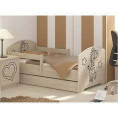 Detská posteľ s výrezom ŽIRAFA - prírodná 140x70 cm Magical Room, Childrens Desk, Mattress Frame, Bed With Drawers, How To Make Bed, Kid Beds, Cot, Kids Bedroom, Giraffe