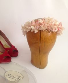 Ana. Crown of natural flowers. Hydrangea and paniculata dyed in coral and nude.