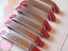 Red and chrome vintage drawer handles | Add it to your favorites to revisit it later.