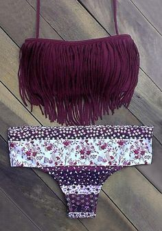 Look more vibrant than the sunset by wearing this floral and fringe bikini set.