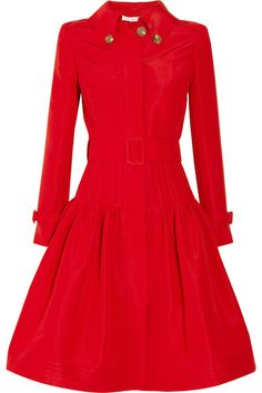 Oscar De La Renta Full-skirted Silk-faille Coat