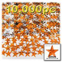 10000-pc Acrylic foil Flatback Star shape Rhinestones 3mm Orange