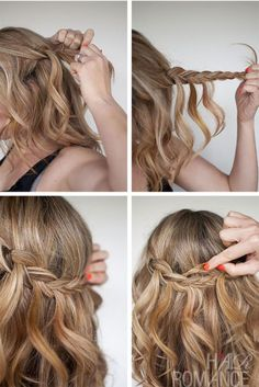 Interesting hair tutorials for half-up updos ponytail. Hair tutorial with twist-crossed curly half-up updos ponytail for medium-long hair.