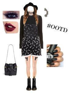 """Outfit Of The Day"" by dreambreatherbb ❤ liked on Polyvore featuring Leg Avenue, River Island, Dr. Martens, Autumn Cashmere, American Retro, Luxury Fashion, Chloé and Wet Seal"